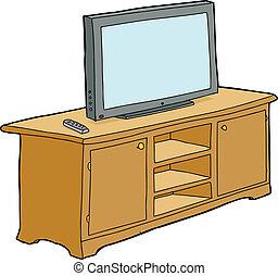 televisión, aislado, gabinete