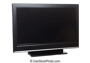 televisión, aislado, pantalla, plano, blanco