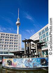 televisión, alexanderplatz, alemania, tower., berlín, vista