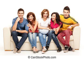 televisión, amigos