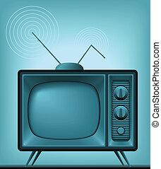 televisión, antigüedad, (vector, image)