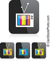 televisión, app, símbolo., vector, en línea, icon., icono