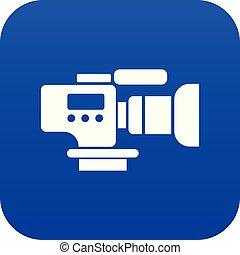 televisión, azul, cámara, vector, icono