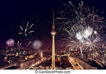 televisión, berlín, fuegos artificiales, torre