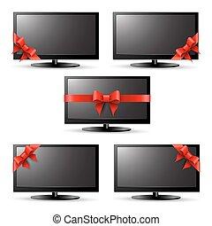 televisión, cinta, rojo, regalo