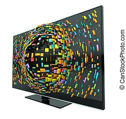 televisión, concepto, aislado,  3D
