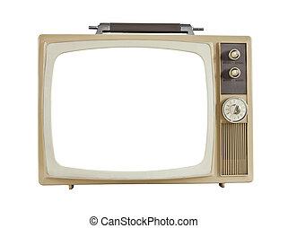 televisión, corte, portátil, 1960's, vendimia, pantalla, afuera