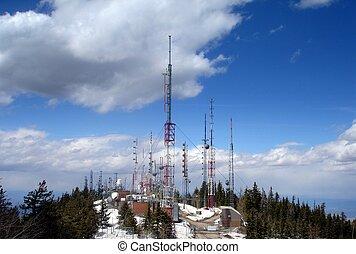 televisión, cumbre, torres, transmisor, radio