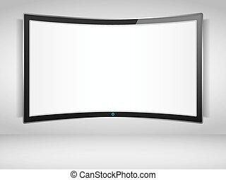 televisión, curvo, pantalla
