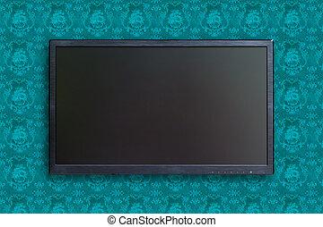 televisión, de par en par, recorte, pantalla, trayectoria