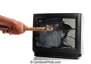 televisión, destruir, su