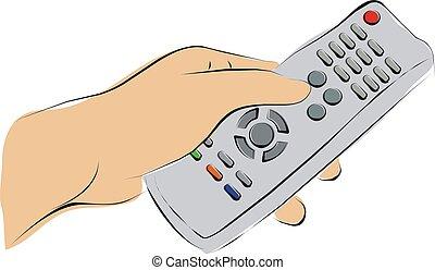 televisión, empujar, remoto, dedo