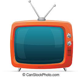 televisión, estilo, retro, caricatura