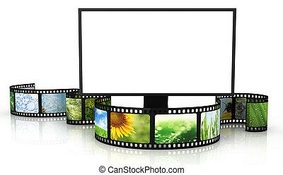 televisión, filmstrip, blanco