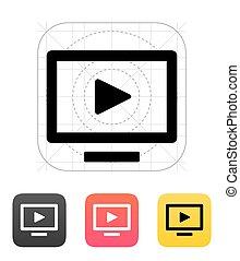 televisión, flatscreen, icon.
