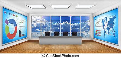 televisión, gráfico, pantalla, empresa / negocio