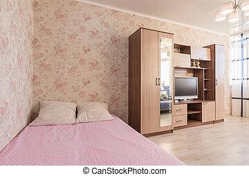televisión, habitación, hotel, guardarropas, interior, cama