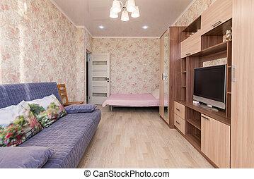 televisión, habitación, hotel, sofá, cama, interior, guardarropas