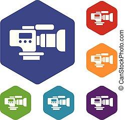 televisión, hexahedron, cámara, vector, iconos