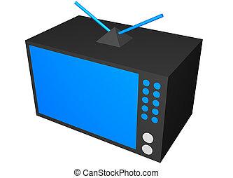 televisión, hogar, arte, aparato, clip