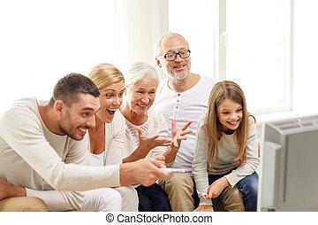 televisión, hogar, familia feliz, mirar