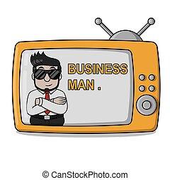 televisión, hombre de negocios