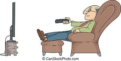televisión, hombre mayor, mirar