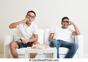televisión, hombres, juntos, Mirar