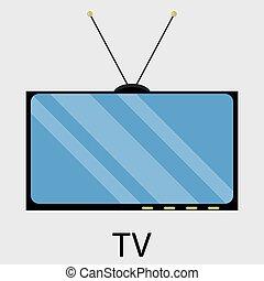 televisión, icono, plano, diseño