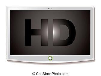televisión, lcd, blanco, hd