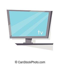 televisión, lcd, blanco, monitor, screen.