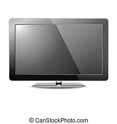 televisión, lcd, monitor, aislado