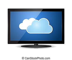 televisión, lcd, monitor, nube