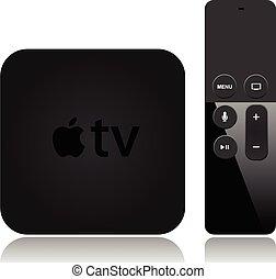 televisión, manzana