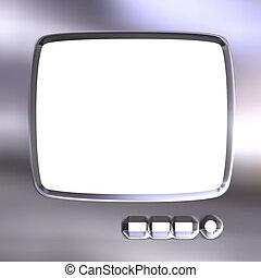 televisión, marco, plata