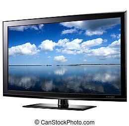 televisión, moderno, widescreen