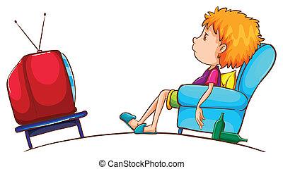 televisión, niño, bosquejo, perezoso, mirar