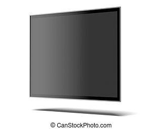 televisión, pantalla ancha, aislado