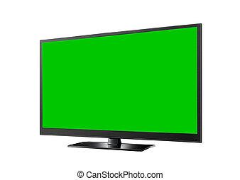 televisión, pantalla ancha, verde, plano