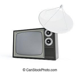televisión, parabólico, antena