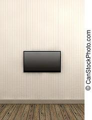 televisión, pared, pantalla, papel, montado