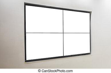 televisión, pared, pantalla