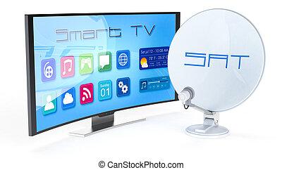 televisión, plato, satélite, elegante