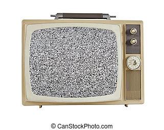 televisión, portátil,  1960's, vendimia, pantalla, estático