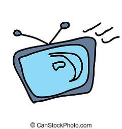 televisión, retro, viejo, vídeo, televisión, exhibición, ...