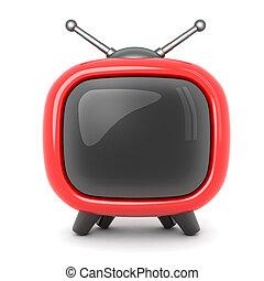 televisión, símbolo, rojo