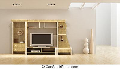 televisión, salón, interior, habitación, estante libros
