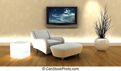 televisión, sofá, render, 3d