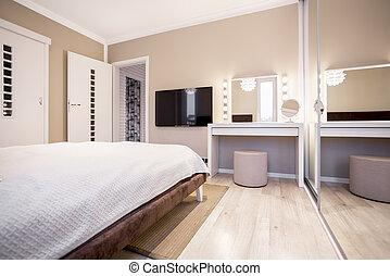 televisión, tabla, aliño, dormitorio