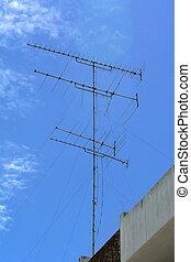 televisión, tejado, aéreo